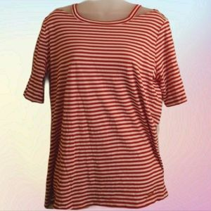 Michael Kors Red and White Striped Top size XL